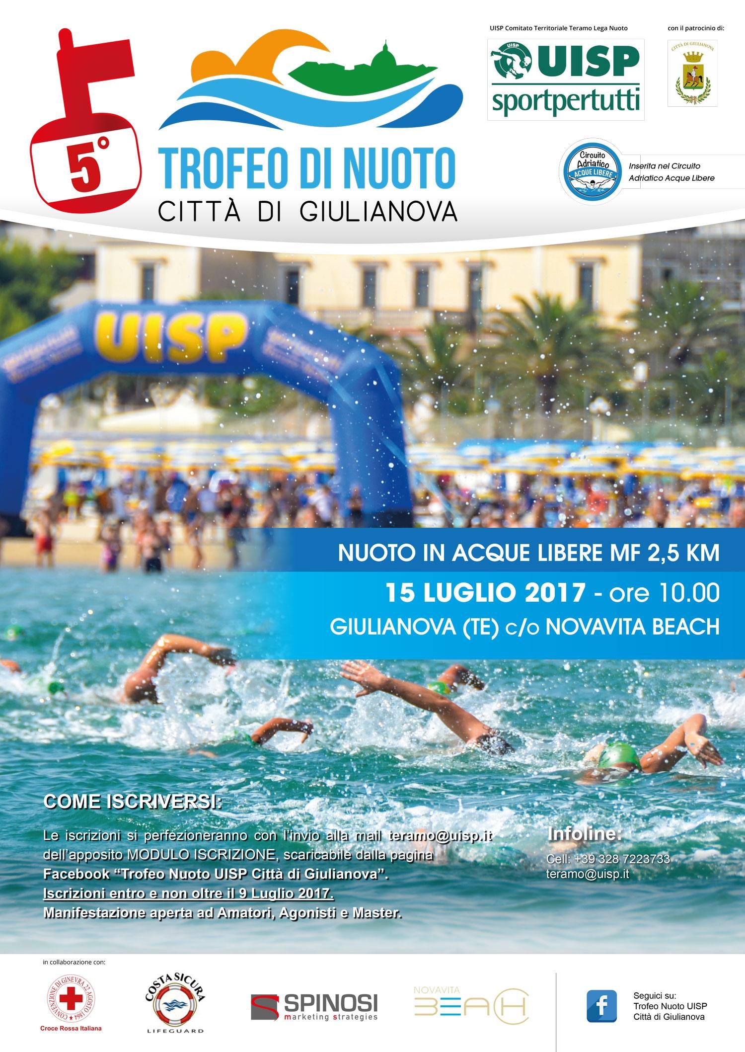"""Al via il prossimo 15 luglio la quinta edizione del """"Trofeo di nuoto Città di Giulianova"""""""