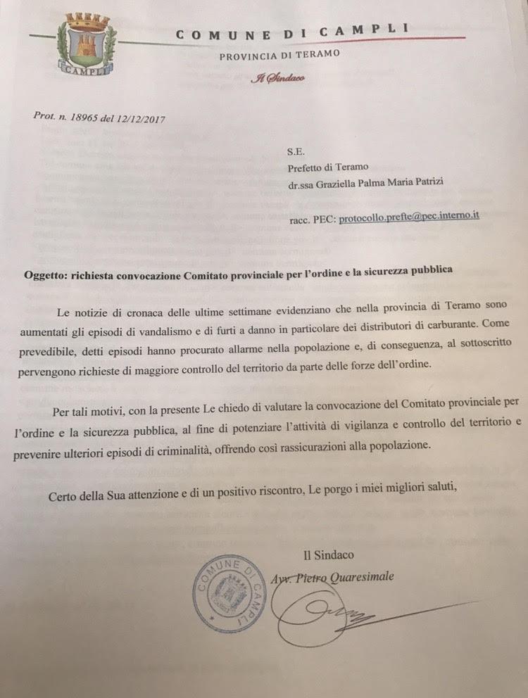 Furti Campli, il sindaco Quaresimale chiede sicurezza e scrive al Prefetto