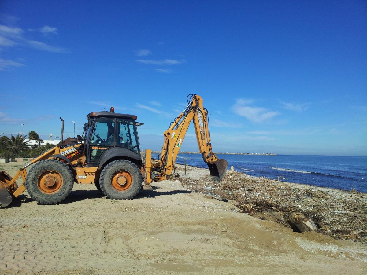 Spiaggiato, iniziano le operazioni di prelievo dei residui accatastati davanti agli stabilimenti