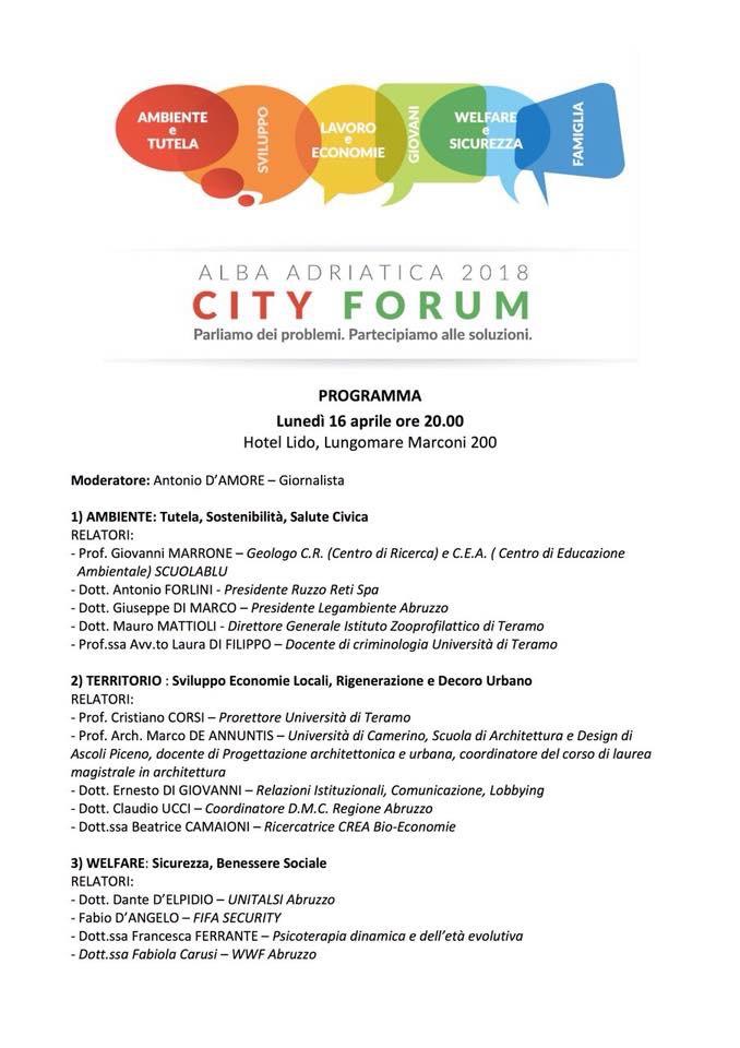 Alba Adriatica City Forum , il rilancio parte da qui