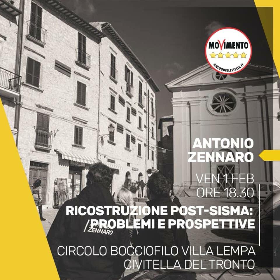 Regionali, Zennaro (M5S) a Civitella per parlare della ricostruzione post sisma