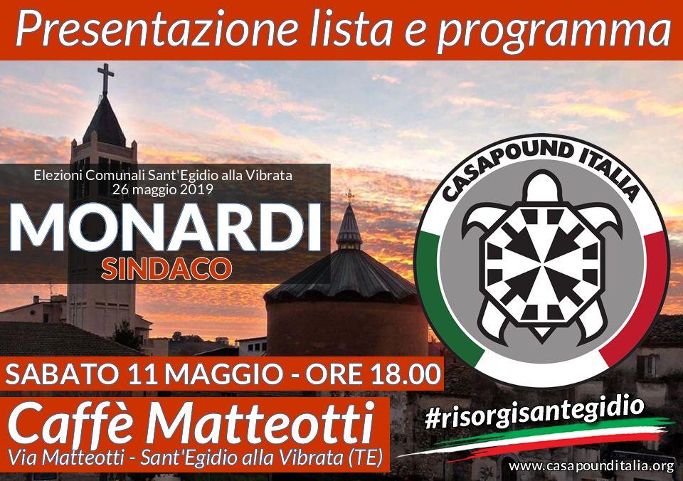 Elezioni Sant'Egidio, presentazione lista CasaPound a sostegno del candidato Monardi