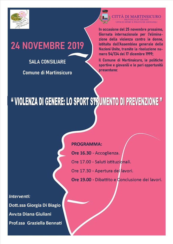 """A Martinsicuro convegno """"Violenza di genere: lo sport strumento di prevenzione"""""""