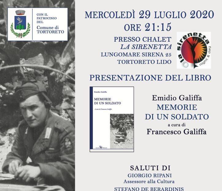 """Tortoreto, presentazione del libro """"Memorie di un soldato"""" di Emidio Galiffa"""