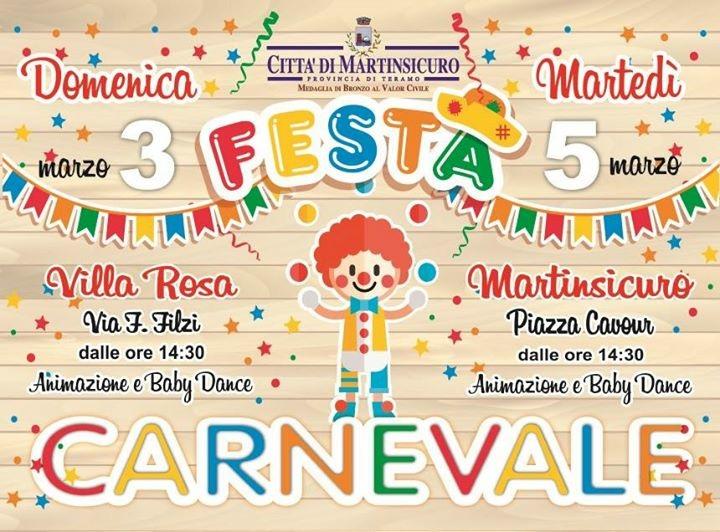 Carnevale a Martinsicuro con spettacoli, musica e animazione per grandi e piccini