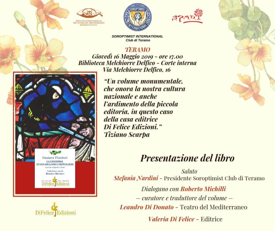 """A Teramo """"La leggenda di S. Giuliano l'ospitaliere"""" di Flaubert, tradotto da Roberto Michilli"""
