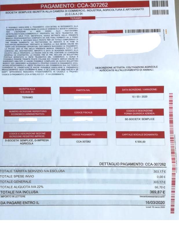 Camera Commercio:bollettini falsi sul diritto annuale 2020: attenzione alle truffe