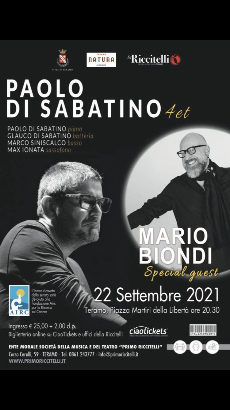 A Teramo Mario Biondi e Paolo Di Sabatino in concerto per Airc